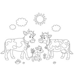 Cow family walking vector
