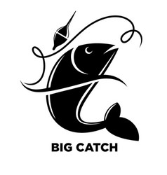 fishing icon of fish on hook for fisherman club or vector image