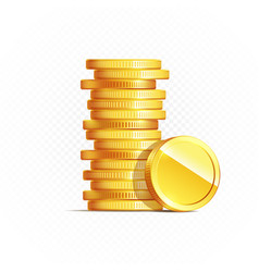 gold coins isolated on transparent in different vector image