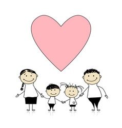 Happy family with love drawing sketch vector