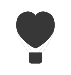 Heart love airballoon flying pictogram vector