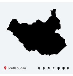 High detailed map of south sudan with navigation vector