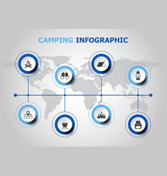Infographic design with camping icons vector