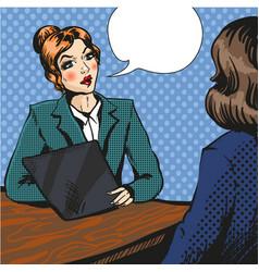 job interview pop art vector image vector image