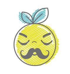 Kawaii nice sleeping orange fruit vector
