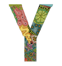 Letter y zentangle decorative object vector