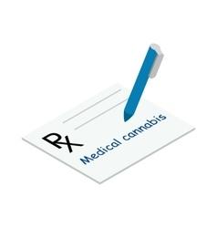 Medical marijuana prescription icon vector