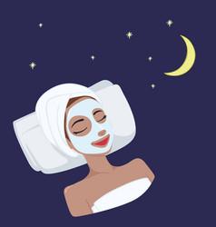milk natural night mask design vector image vector image