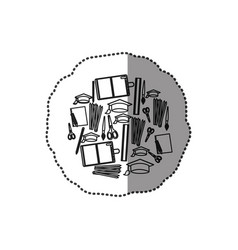 monochrome contour sticker with set formed by vector image vector image