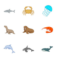 Residents of the north seas icons set vector