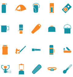 Set icons for travel and outdoors vector