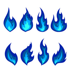 set of blue fire icons flames vector image