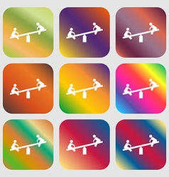 swing icon Nine buttons with bright gradients for vector image