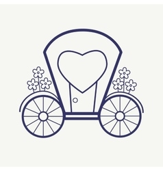 Wedding outline carriage icon set elegant vector