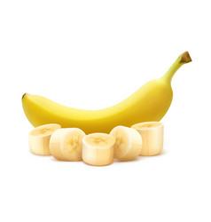Whole and chopped banana vector