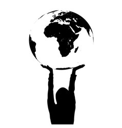 Woman silhouette holding the earth in hands vector