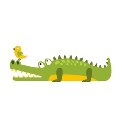 Crocodile watching bird on his nose flat cartoon vector