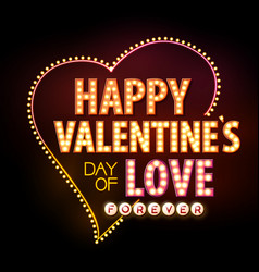 Neon sign happy valentines day typography vector