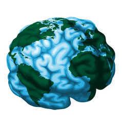 Brain world globe vector