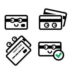 Cute credit card icon set vector