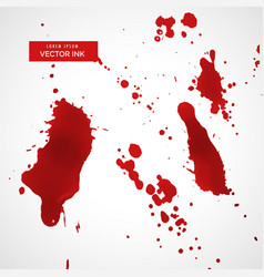 Red ink splatter or blood stain texture set vector