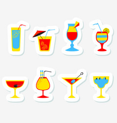 Stickers set with alcohol cocktails flat cartoon vector