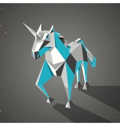 Three dimensional magic origami unicorn from vector
