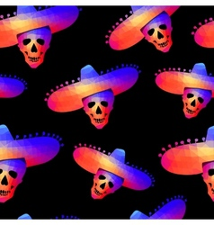 Seamless background with skull in sombrero vector
