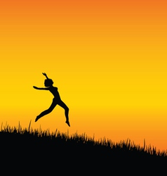 girl black silhouette jumping vector image