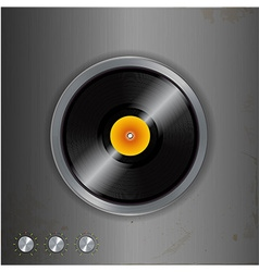 Vinyl and dials on metallic background vector