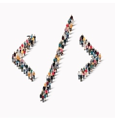Crowd people shape arrow direction vector