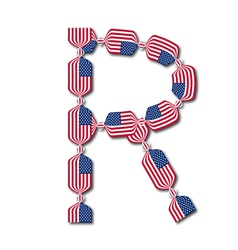 Letter R made of USA flags in form of candies vector image