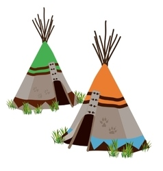 Tipi traditional dwelling by indigenous people vector