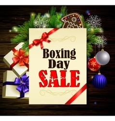 Boxing day background on wood vector