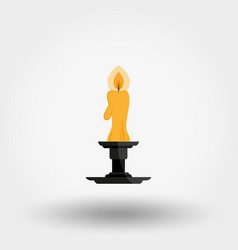candle in candlestick isolated on vector image