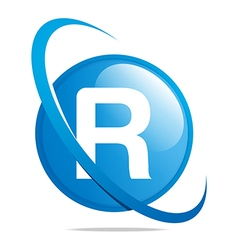 circle globe round letter r blue abstract vector image vector image