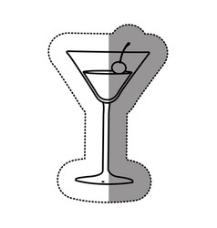 Contour cocktail beverage with cherry icon vector