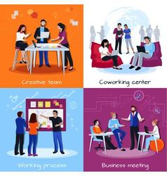 Coworking people 2x2 design concept vector