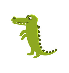 Crocodile smiling standing upright cartoon vector