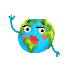 cute cartoon flirty earth planet emoji with red vector image vector image