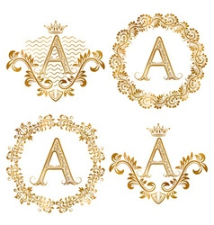 Golden letter a vintage monograms set heraldic vector