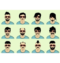 Hair beard and mustache vector