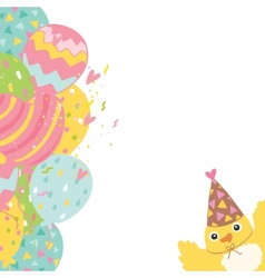 Happy Birthday background with balloons and bird vector image
