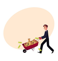 man businessman pushing wheelbarrow full of money vector image