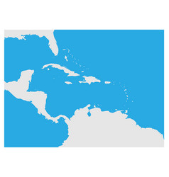 Map of caribbean region and central america grey vector