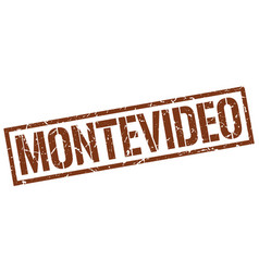 Montevideo brown square stamp vector