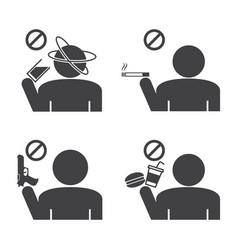 Prohibited icons do not drink smokeing and food vector