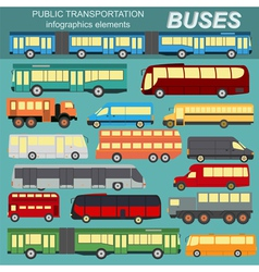 Public transportation buses Set elements vector image vector image