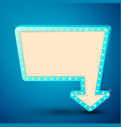 retro billboard with shining lamps and arrow vector image vector image