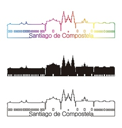 Santiago de Compostela skyline linear style with vector image vector image